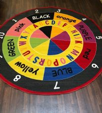 NEW COLOURS ABC CHILDREN 200X200CM CIRCLE RUGS MATS HOME SCHOOL LEARNING MULTI